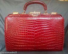 "Valextra Milano Rare Authentic Red Niloticus Crocodile ""Coffre"" Handbag"