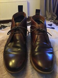 Mens Clarks Brown Leather Boots Size 8.5 G