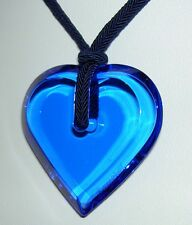 Authentic BACCARAT Cobalt Dark Blue A La Folie Crystal Heart Pendant Necklace