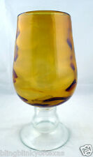 Amber Glass Snifter Compote Mid Century Modern