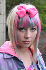 PINK PADDED BOW HAIR CLIP - EMO SCENE GOTH LOLITA KAWAII