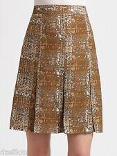 NWT $395 Tory Burch Wool Silk Pleated Printed Skirt Size 4