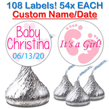 108 Baby Girl Shower Fits Hershey Kiss Stickers Party Favors Decoration Pink
