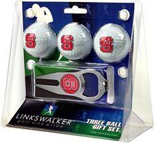 NC North Carolina State Wolfpack Hat Trick Divot Tool & Logo Golf Balls Gift Set