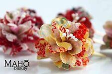Japanese KANZASHI hair clip claw real KIMONO crepe FLOWER DAHLIA geisha Yellow