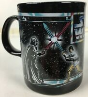 Star Wars Darth Luke Lightsaber Fight 1996 Ceramic Black Coffee Cup Mug - New