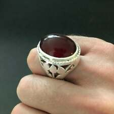 Mens Yemeni Aqeeq Ring Shia Brown Aqeeq Ring Mens Islamic Ring Silver Ring Akik
