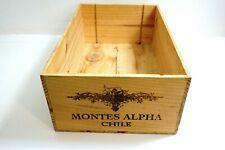 "MONTES ALPHA CHILE WINE BOX ORIGINAL 20 1/2"" LONG WOODEN CRATE SYRAH 2001"