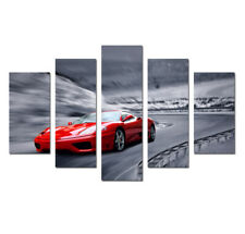 Red Super Cars 5 Pieces Painting Canvas Wall Art Poster Print Picture Home Decor
