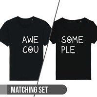 AWESOME COUPLE Mens Ladies Matching Couple ORGANIC Cotton T-Shirt Valentines Day