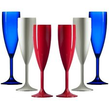 Plastic Polycarbonate Champagne Flutes - Red, White & Blue- Made in UK