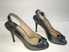 Manolo Blahnik 38 7.5 Pewter Metallic Silver  Leather Pumps Peep Toe Heels Shoes