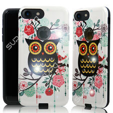 For iPhone 7 (4.7) Hybrid Diamond Bling Hard Case Cover Slim Shockproof (Owl)