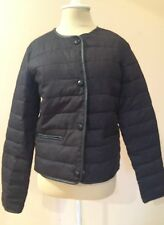 $120 Mango Women's Casual Black Quilted Jacket Elbow Patch Faux Leather Trim XS