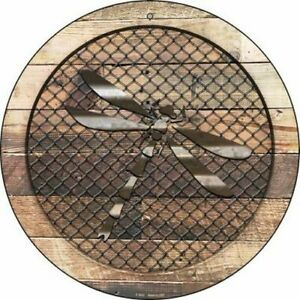 """Dragonfly Fence Fencing 12"""" Round Aluminum Metal Sign Rustic Home Wall Decor"""