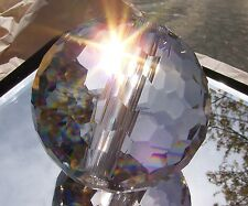 HUGE HEAVY 100MM CUT CRYSTAL BALL-SHARP CUT PRISMS-MANY RAINBOWS