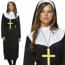 Ladies Nun Habit Dress Costume Hen Party Adult Fancy Dress Religious Monk Outfit