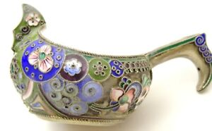 Antique  Russian Silver Enamel Kovsh by Nikolai Vasilievich Alexeev