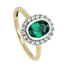 Yellow Gold Emerald Ring White Sapphire Engagement Cluster Dress Hallmarked