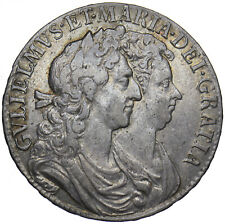 More details for 1689 halfcrown - william & mary british silver coin - very nice