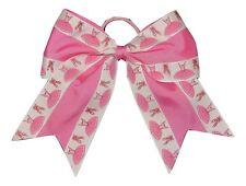"NEW ""PINK BALLERINA"" Cheer Bow Pony Tail Ribbon Girls Hair Cheerleading Dance"