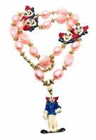 "Vintage Bozo The Clown Mardi Gras Necklace Beads Pink Gold 23""  New Orleans La"