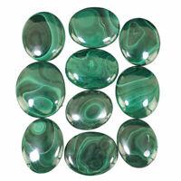 10 Pcs Natural Malachite AAA Finest Green Cabochon Gemstones Wholesale 30mm-36mm