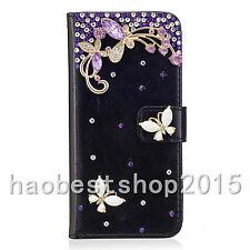 Luxury Bling Diamonds Jewelled PU Leather Flip Wallet black Phone Case Cover #A