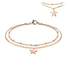 "Stainless Steel 9""-10"" Rose Gold Star Double Link Ankle Bracelet Anklet"