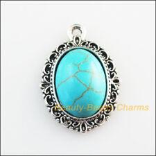 2Pc Retro Tibetan Silver Round Turquoise Flower Charms Pendants 30x35mm