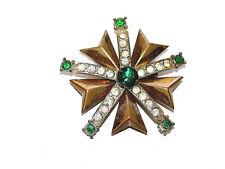 Beautiful Vintage Emerald & Clear Rhinestone Star Medallion Pin/Brooch