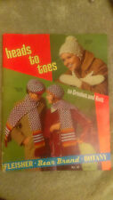 VINTAGE VOL61 C1950S HEAD TO TOES CROCHET & KNITTING BOOK BEAR BRAND BOTANY GC++