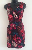 NEW Ex ASOS Red Black Roses Print Evening Formal Bodycon Fitted Dress Sizes 4-14