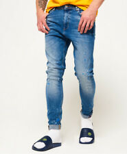 New Mens Superdry Spray On Skinny Jeans Blue Voodoo Splatter