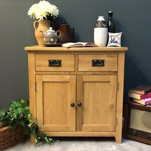 Oak Mini Sideboard Modern Oak Small Cupboard With Drawers Solid Wood Grange NEW