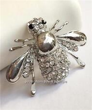 Silver Plated Bumble Bee Pin Brooch Crystal Crystals Insect USA Seller