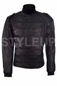 Men's Bucky Barnes Leather Captain America Winter Soldier Jacket & Vest
