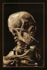 Vincent Van Gogh Skeleton Skull With Burning Cigarette Art Print Poster 24x36 in