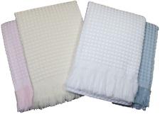 Baby Shawl Blanket Christening Wrap Fringed White