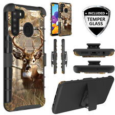 For Samsung Galaxy A21 HD Glass Hybrid Phone Deer Case Armor Belt Clip Holster