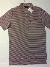 NEW POLO GOLF MED - CLASSIC PINK / RUSTIC NAVY STRIPE SHORT SLEEVE W POCKET.
