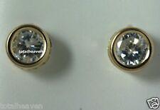New Solid 14K Yellow Gold 6mm (2 carat tw) D-Flawless Bezel Set CZ Stud Earrings