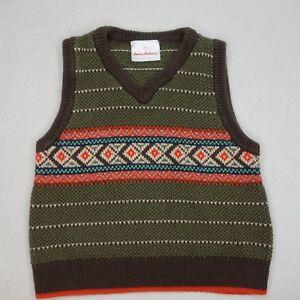 Hanna Andersson Boys Size 80 US 2 Brown Sweater Vest JJ18