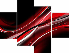 Large 4 Piece Panel Set Large Canvas Pictures Abstract Black Red White Wall Art