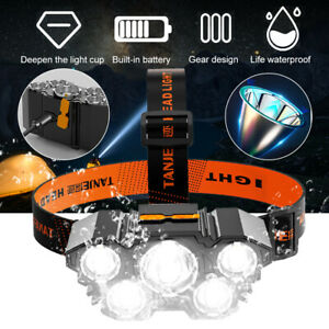 Waterproof LED Headlamp Head Torch Light Rechargeable Flashlight Fishing Camping