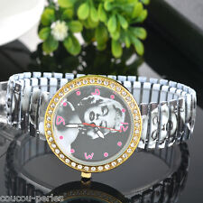 Fashion Marilyn Monroe Stretchy Steel Belt Rhinestone Women Leisure Wrist Watch