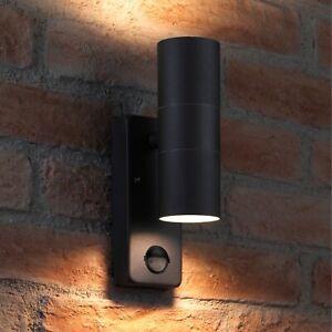 Auraglow PIR Motion Sensor Stainless Steel Up & Down Wall Security Light Black