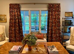 Schumacher Custom Oriental Floral Chinoiserie birds Linen pinch pleat curtain #1