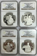 1994 world cultural figures S10Y 27g silver coins 4-pc set NGC PF69