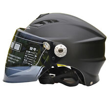 BAILIDE Motorcycle Helmets Matte Black DOT Approved Visor Flip Up Half Face